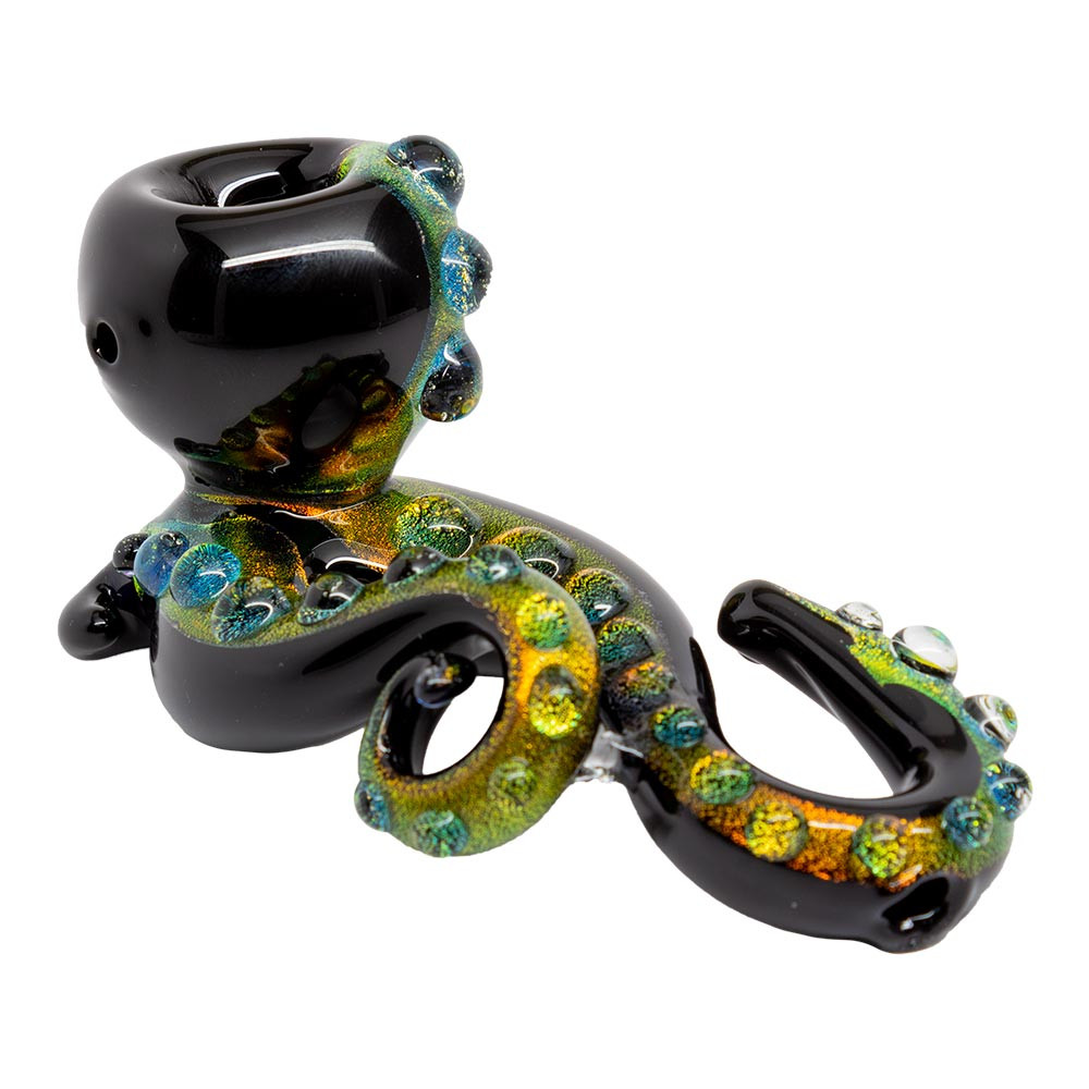 Dichroic Black Glass Octopus Hand Pipe with Marble Accents