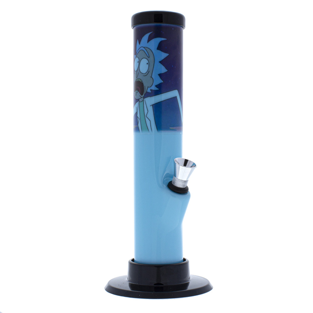 Straight blue acrylic bong with Rick and Morty artwork
