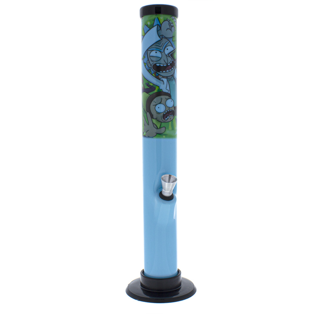 Acrylic straight waterpipe tube with graphic art from Adult swim like Dragonball Z, Rick and Morty with a metal bowl