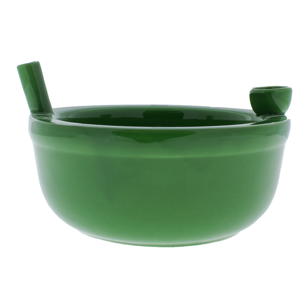The Roast & Toast Cereal Bowl is made of strong, glazed ceramic and won't crack or chip. The bowl stands 3.5 inches from its base to the mouthpiece.