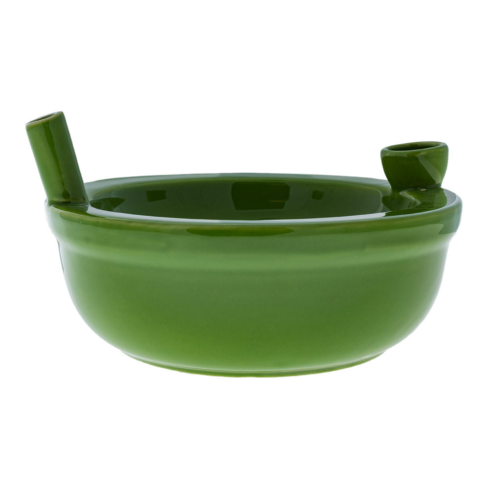 "These glazed ceramic bowl pipes stand about 3.125"" tall and weigh just under one pound. Easy to pass, easy to hold, and easy to munch with!"