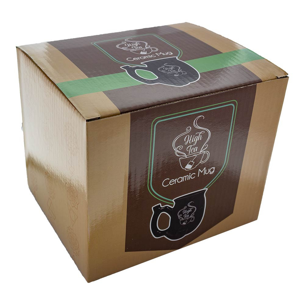 Each High Tea Mug comes packaged in a box just like this one, and is held safely in place with styrofoam padding.