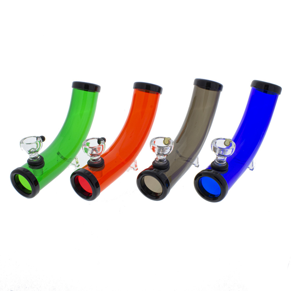 Assorted color curved acrylic steamroller with glass bowl and legs to keep from rolling.