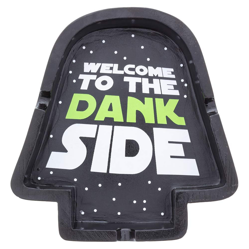 Top view of the Dank Side Ashtray, illustrating the silhouette of a helmet.