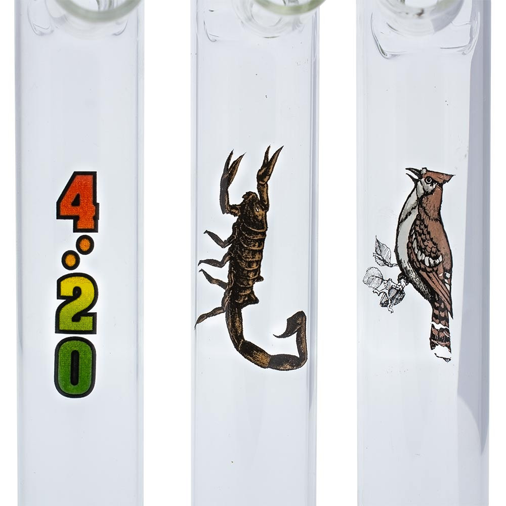 """8"""" Glass Graphic Steamroller Pipe various graphic styles"""