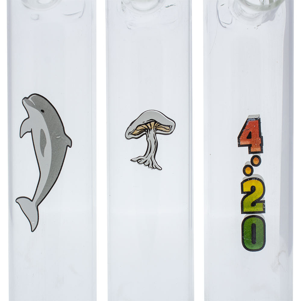 """7.5"""" Glass Graphic Steamroller Pipe assorted graphics"""