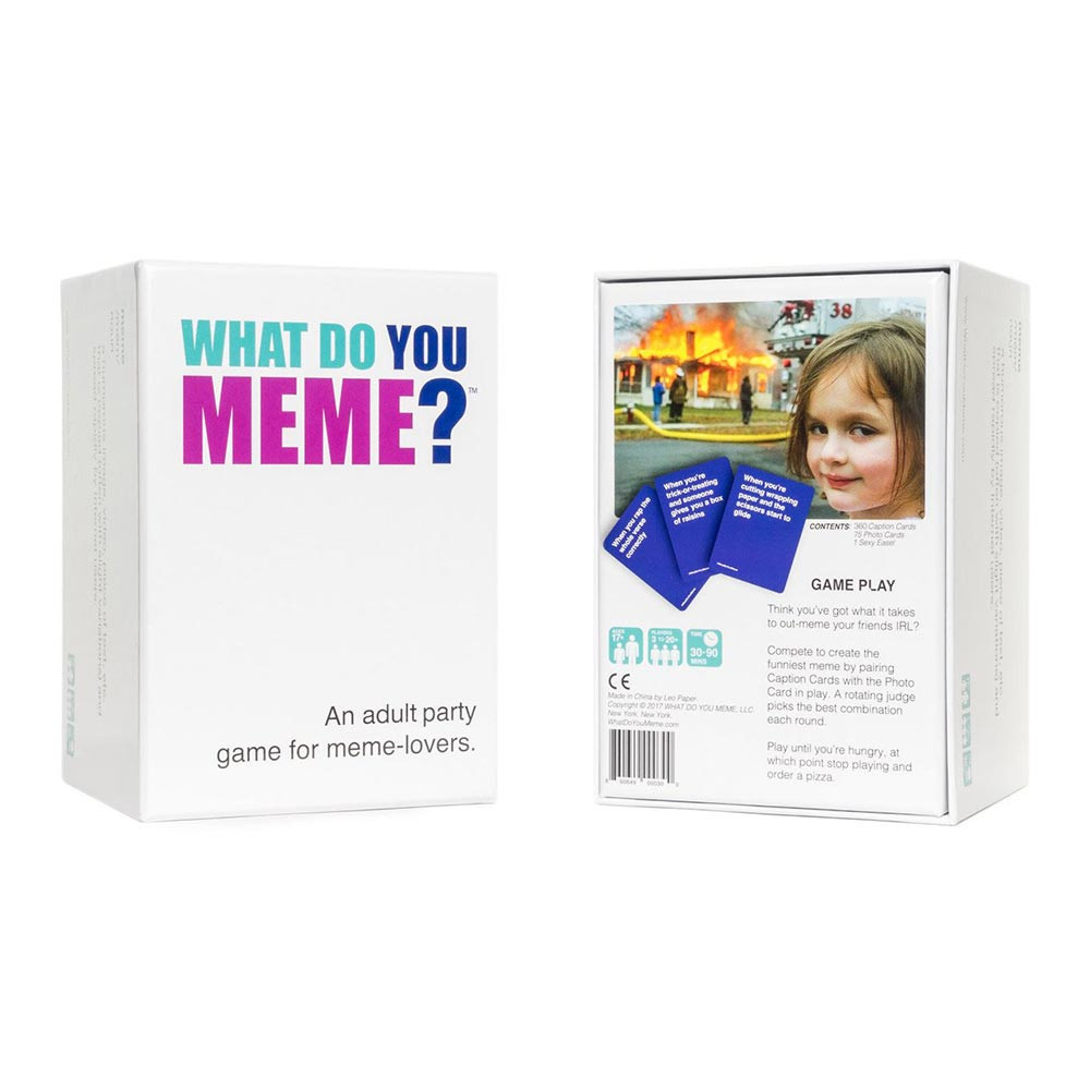 What Do You Meme? Adult Party Card Game front and back box image