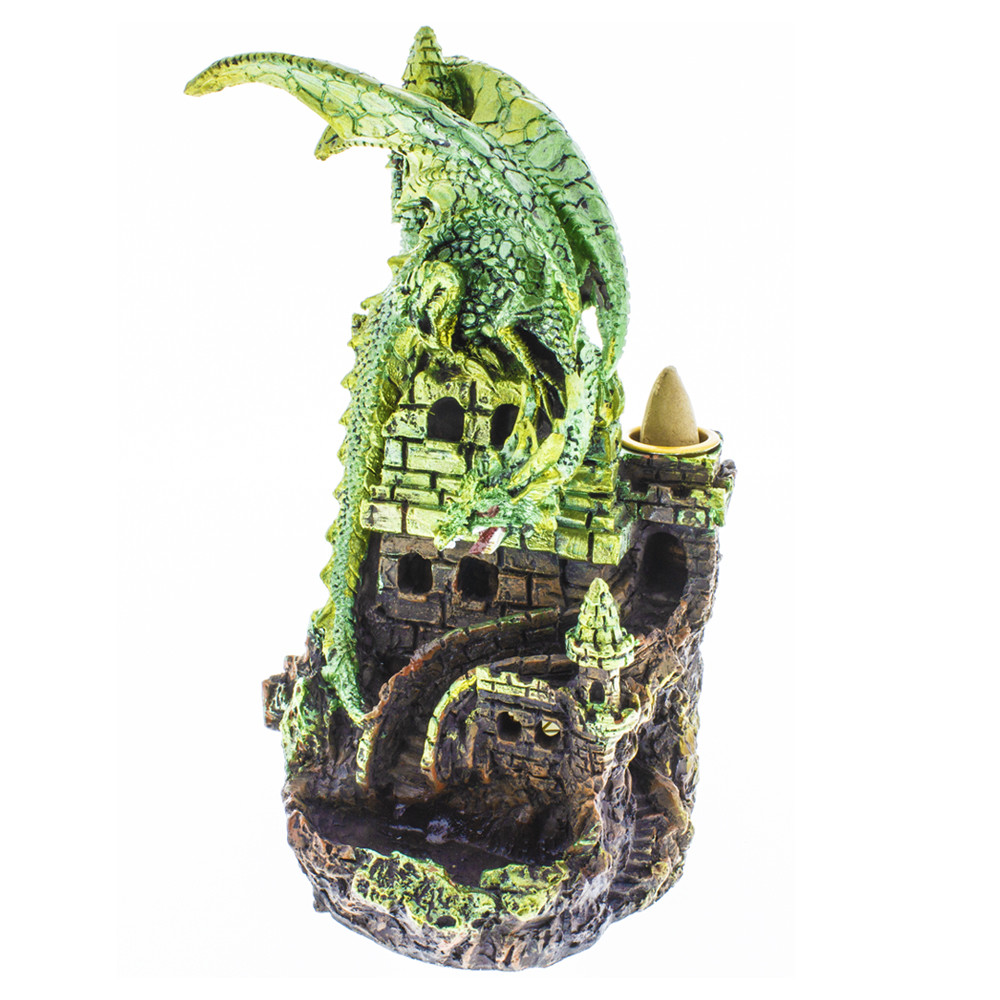 Green dragon guarding a castle backflow incense burner.