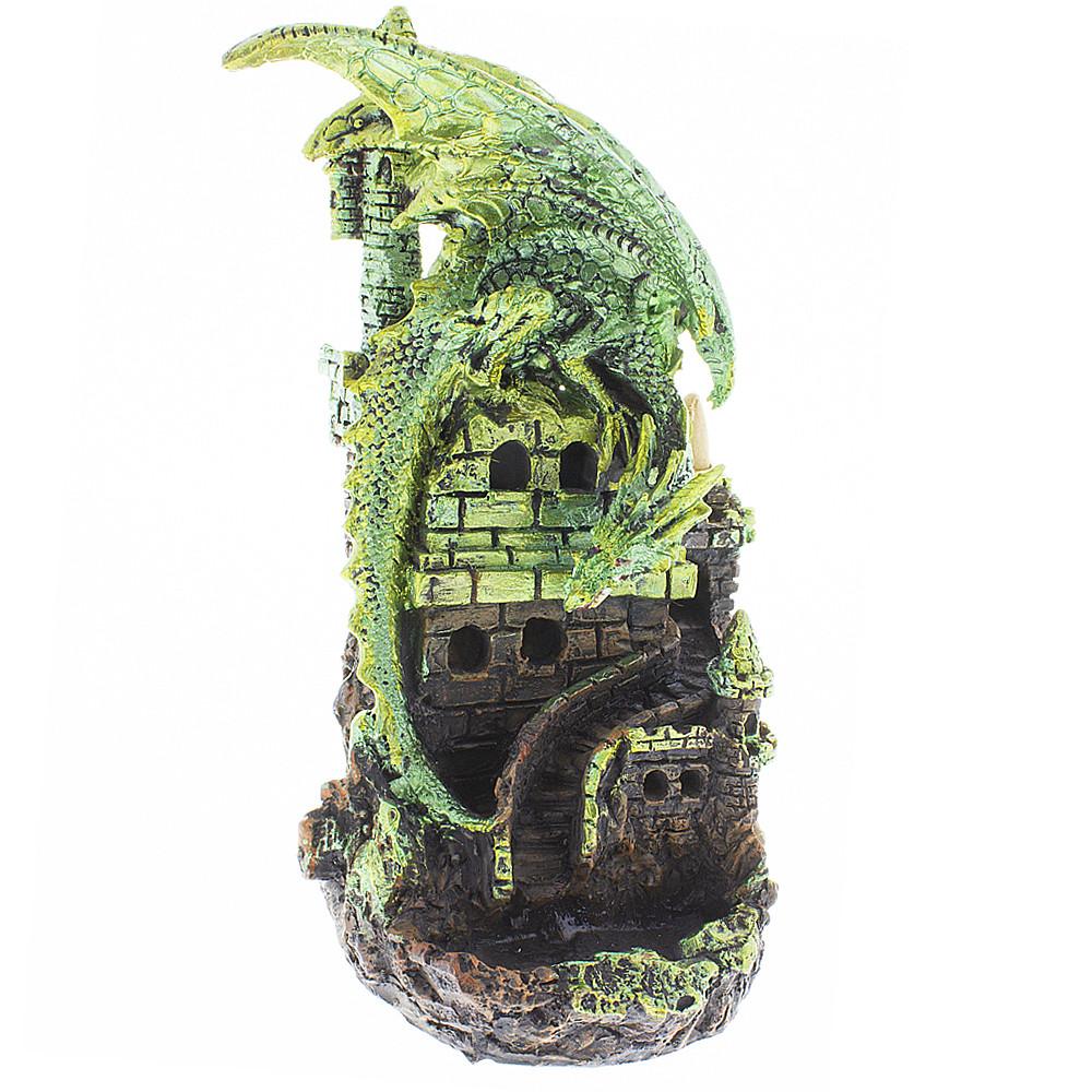 Green dragon guarding a castle backflow incense burner.