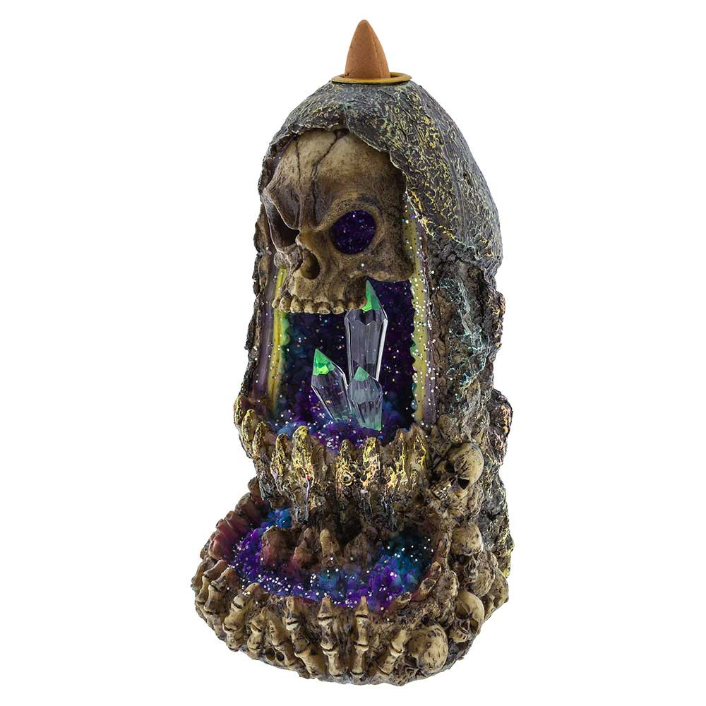 Buy Skull and Bones Crystal Geode Backflow Burner Incense Wholesale Online headshop