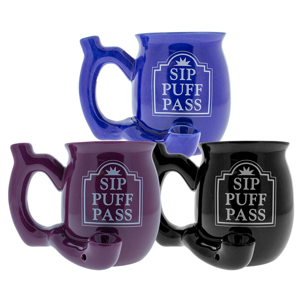 Sip Puff Pass Ceramic Pipe Mug