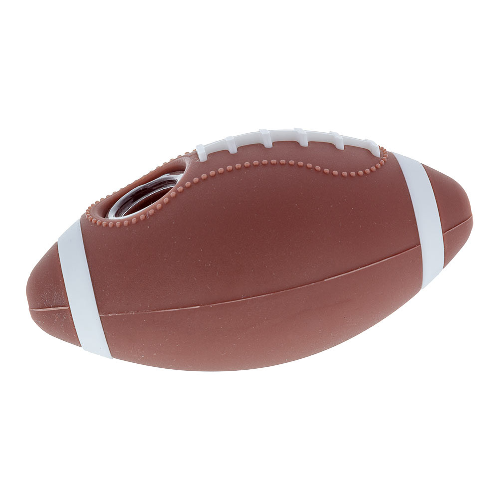 This Silicone Football Hand Pipe can stand up on its own at a slight angle when set down.