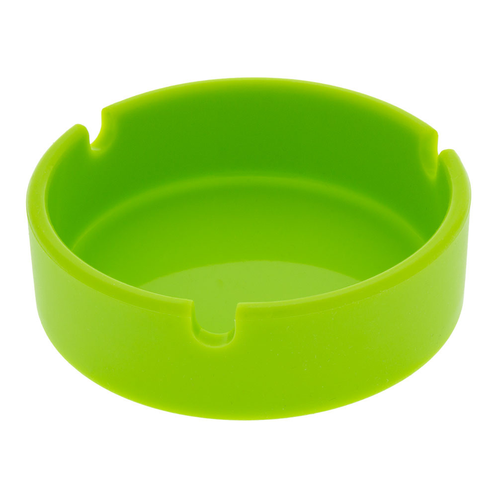 This silicone ashtray is resistant to heat and stains and is unbreakable from drops.