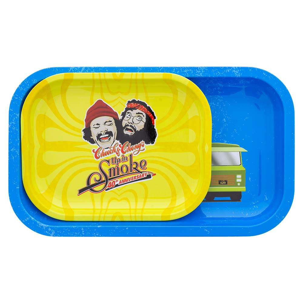 Pictured here is a Small rolling tray (in yellow) resting on a Medium rolling tray (blue) to show the difference in size.