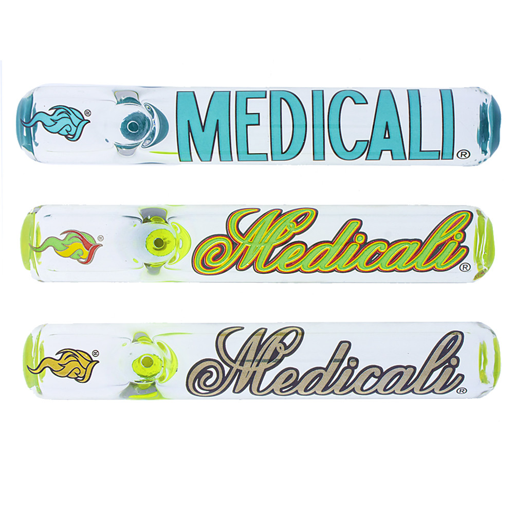 "Made in America medicali glass 6"" steamroller with assorted color medicali logo on the top."