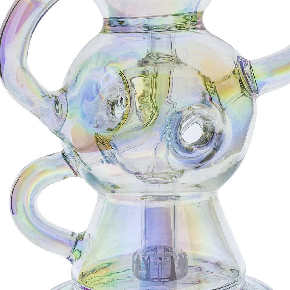 """This close-up shot shows the intricate center sphere of the """"fab egg"""" style, highlighting the openings on the body which allow fresh air to circulate with the water. Also pictured is the showerhead perc at the base of the pipe, where percolation begins."""