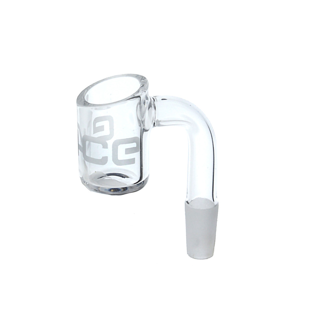 Eyce 90 degree quartz glass 10mm male banger with Eyce logo etched in the bucket of the banger