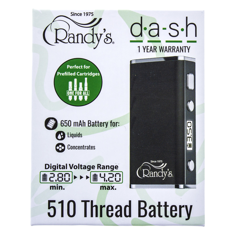 Randy's Dash variable voltage cartridge digital read out vape in black and sliver.