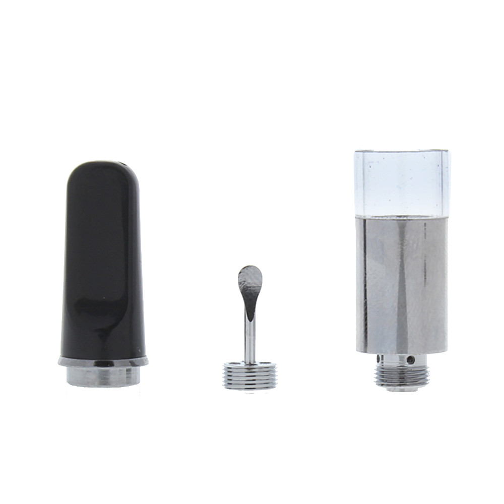 Airis Quaser Q-cell quartz bucket 510 thread cartridge vape in black comes with a built in dabber in the mouthpiece.