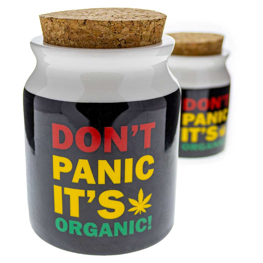 "Don't Panic, It's Organic"" Ceramic Stash Jar"