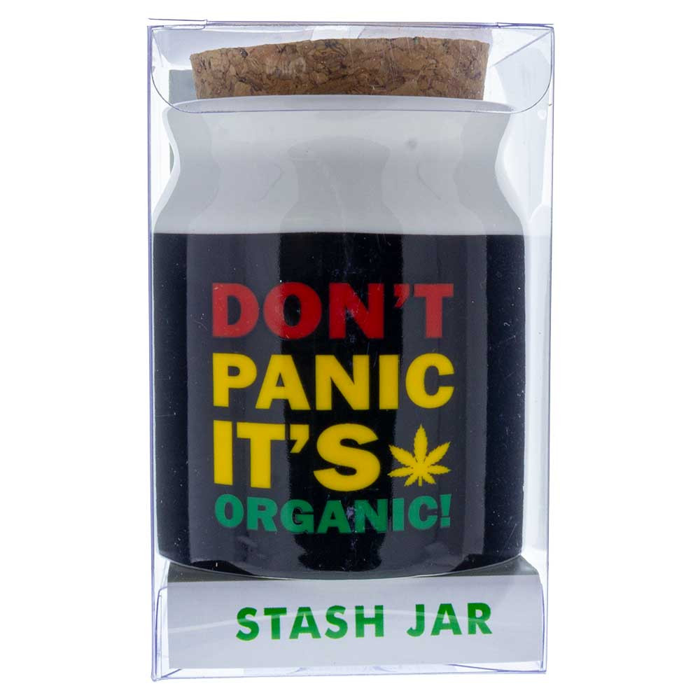 "Don't Panic, It's Organic"" Ceramic Stash Jar wholesale"