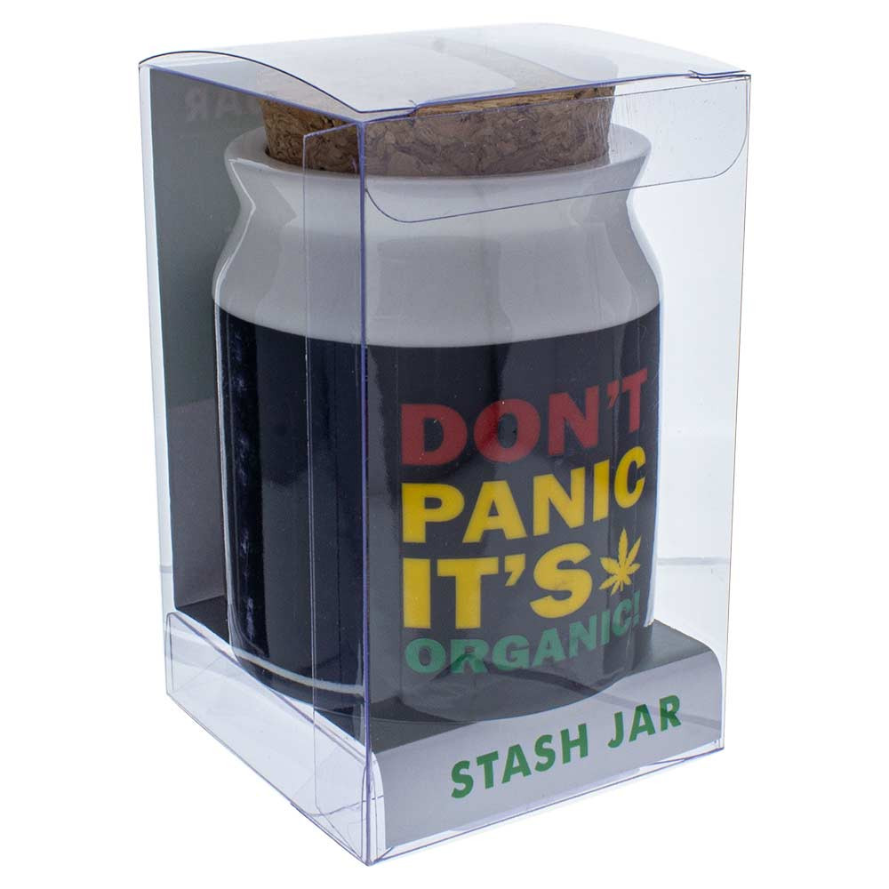 "Don't Panic, It's Organic"" Ceramic Stash Jar in box"