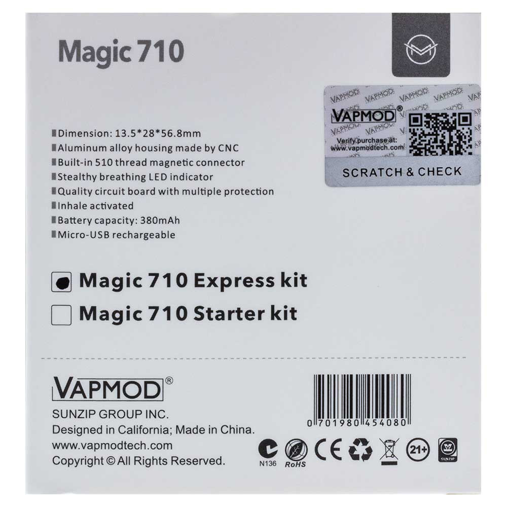 Vapmod Magic 710 Express Kit box back.