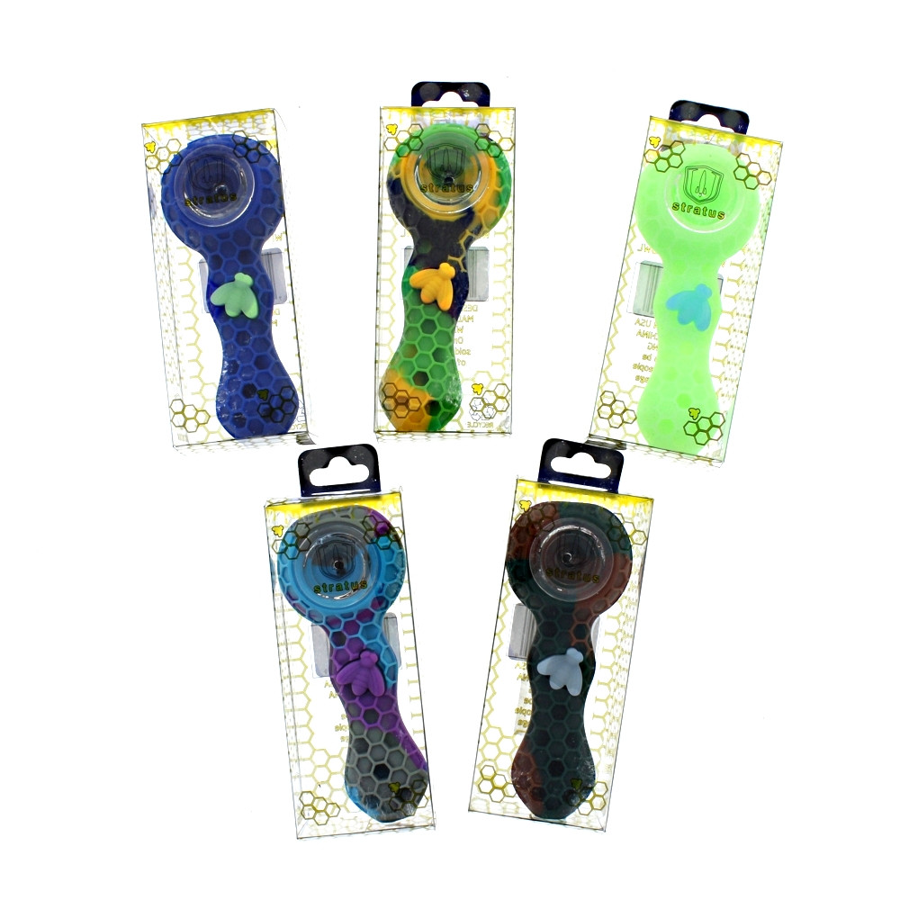 """Stratus 4"""" Silicone Bee Spoon Pipe"""