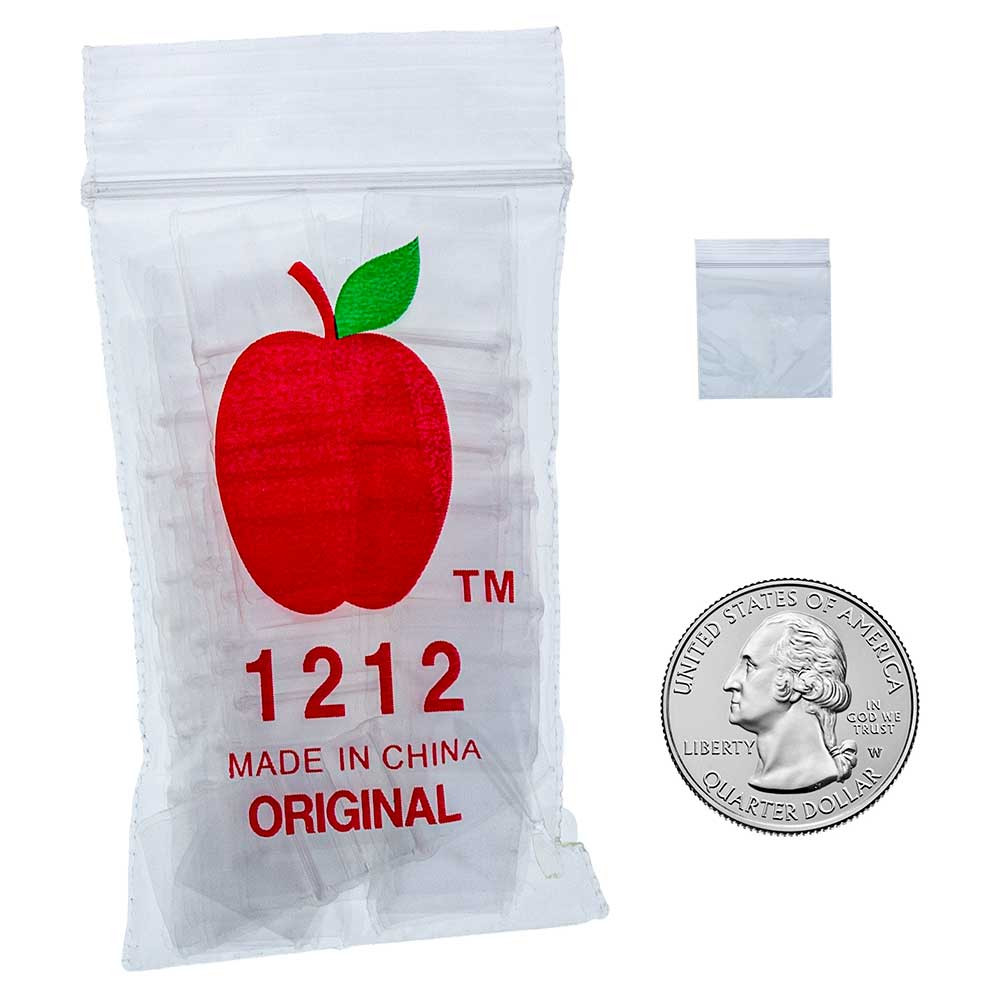"""Apple Brand 1212 bags are 1/2"""" x 1/2"""" under the zip seal."""