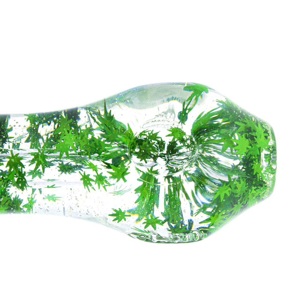 Liquid Filled Glass Freezer Pipe, Glitter Leaf
