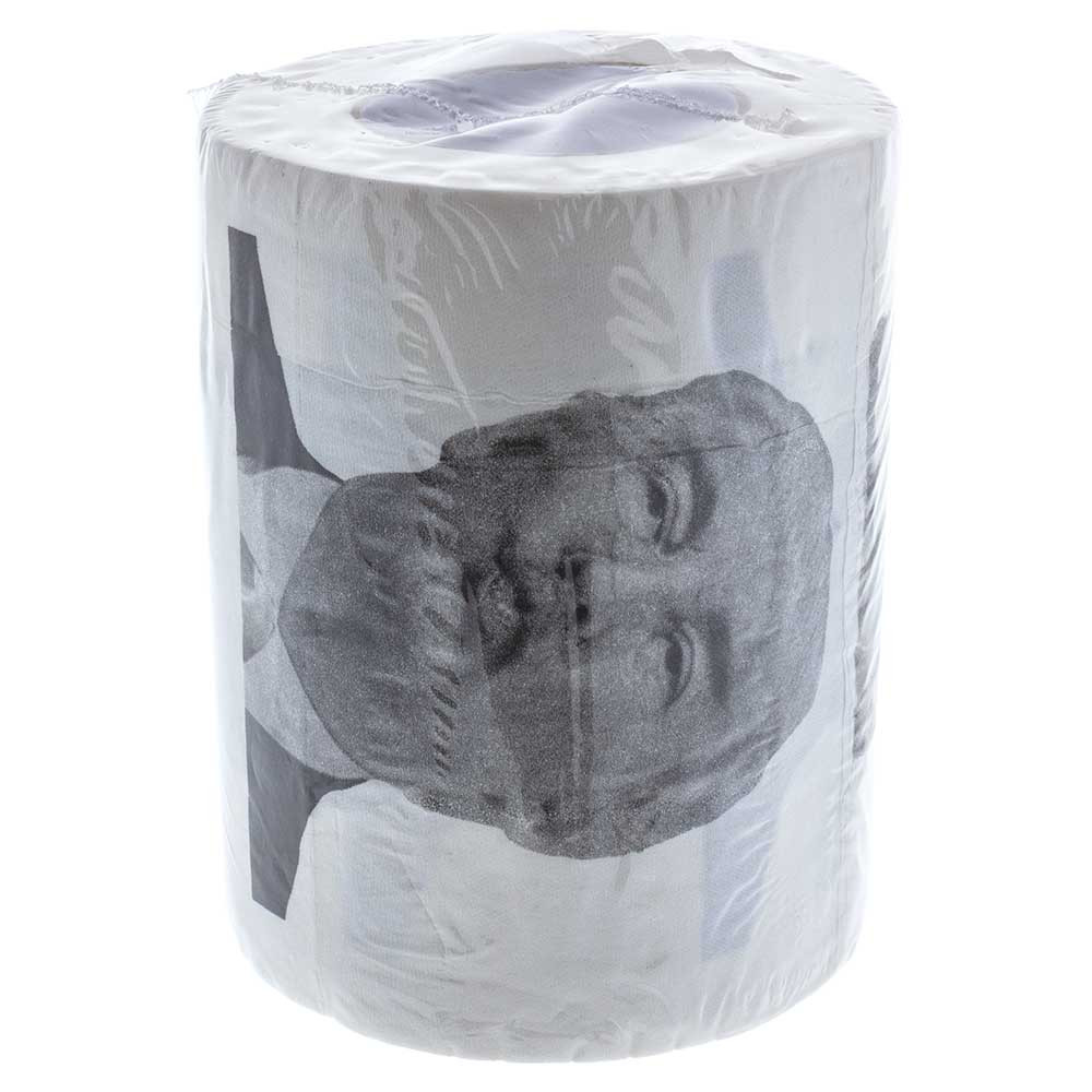A single roll of packaged Trump Kiss Ass Toilet Paper.