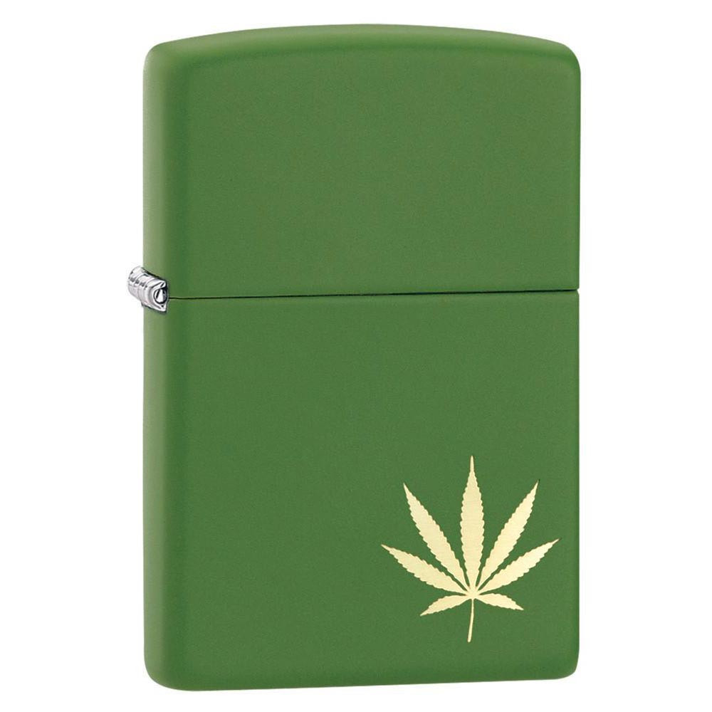 Zippo Matte Green Windproof Lighter with Leaf
