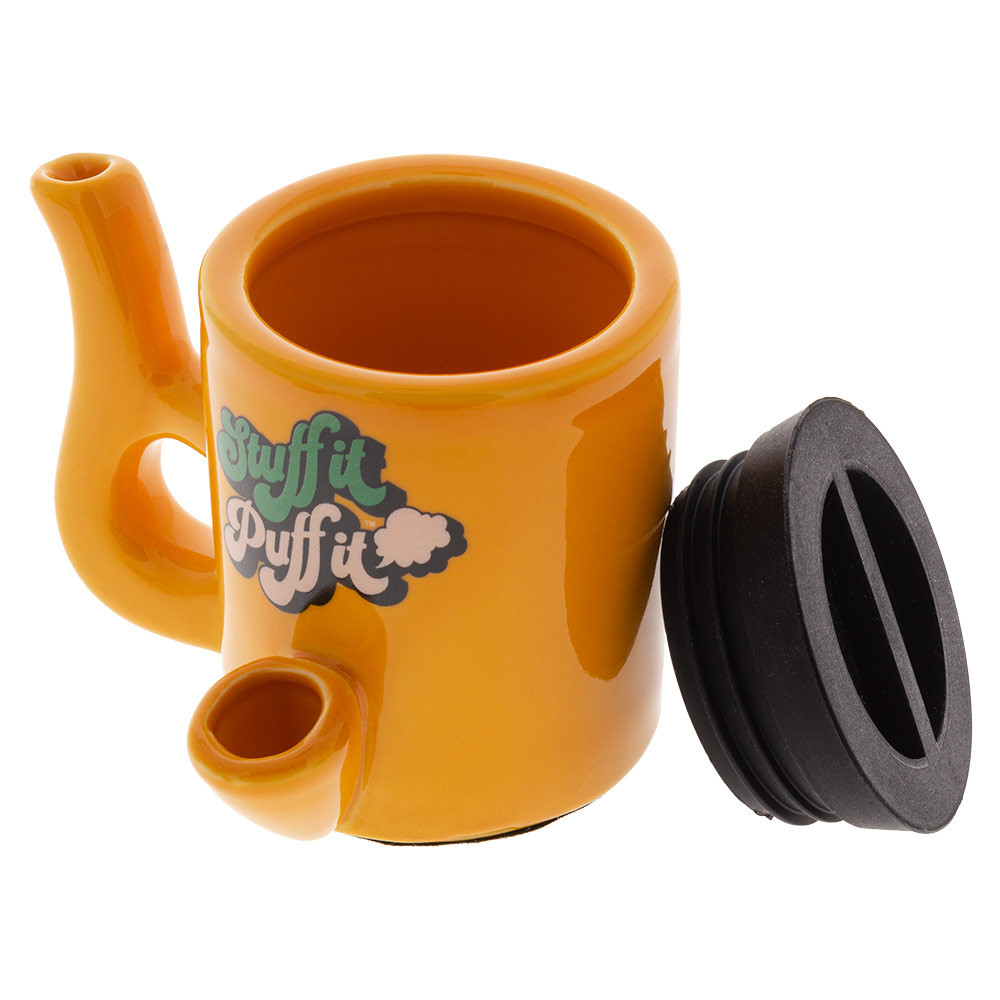 Ceramic stash mugs with water-tight silicone lid