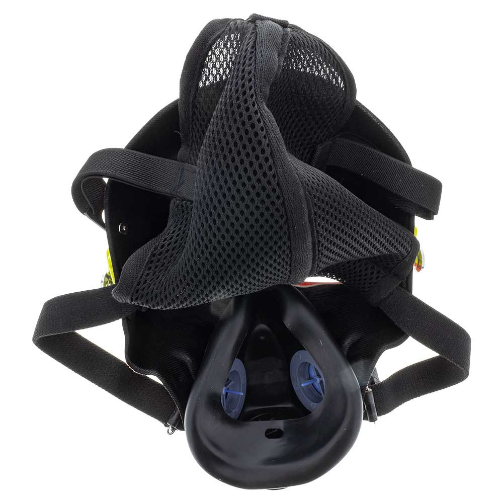 From the back you can see the sling the mask has to fit comfortably over your head. At the bottom is a complete breathing apparatus which restricts breathing to certain inputs and outputs so no smoke is wasted.