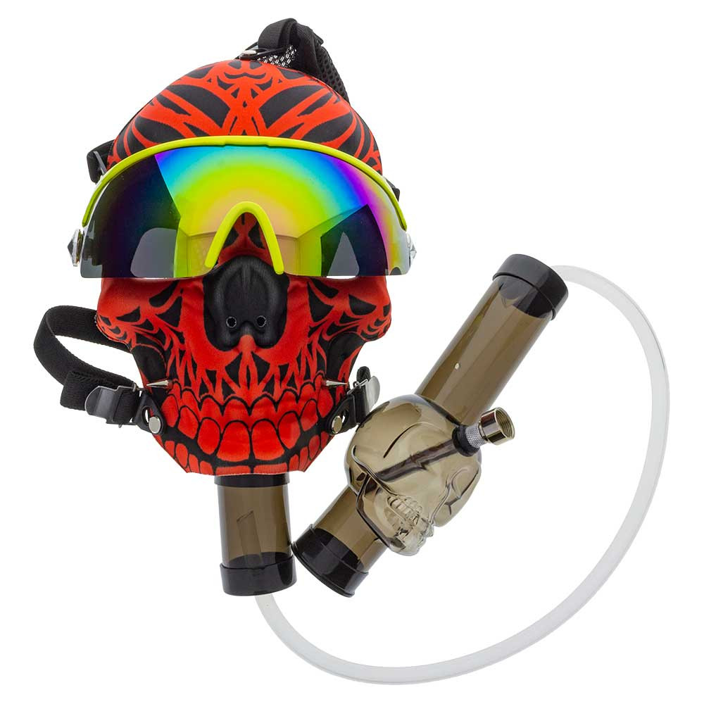 """Chill in style with this soft fabric Red Skull Gas Mask with included 1.5"""" x 8"""" Skull Acrylic Tube. The tube can be connected to the mask via its tubing attachment or straight from the pipe."""