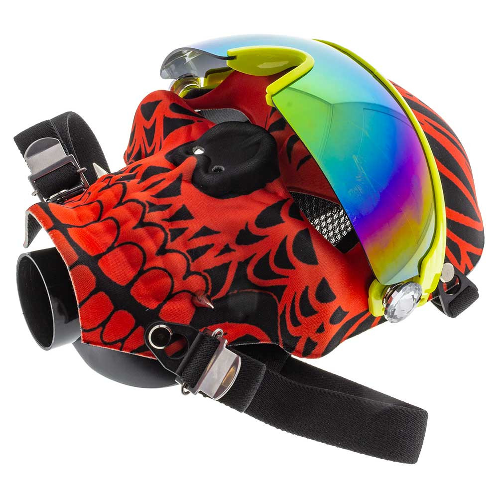 The mask alone is pretty cool. It has an intricate printed pattern and comes with polarized glasses. The diamond accents hide screw holes and can be easily removed.