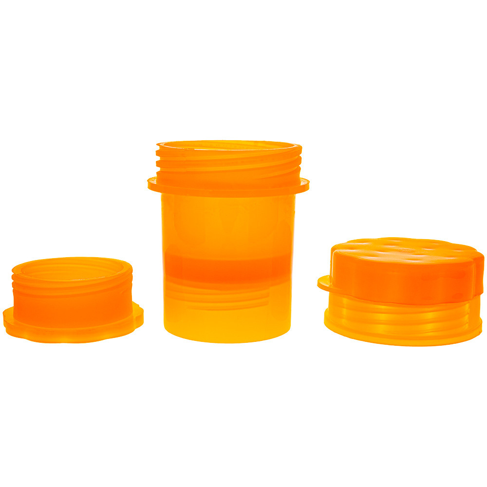 Plastic Grinder with Storage disassembled down to its 3 parts (left to right): The bottom pollen collection, stash container, and grinder top.