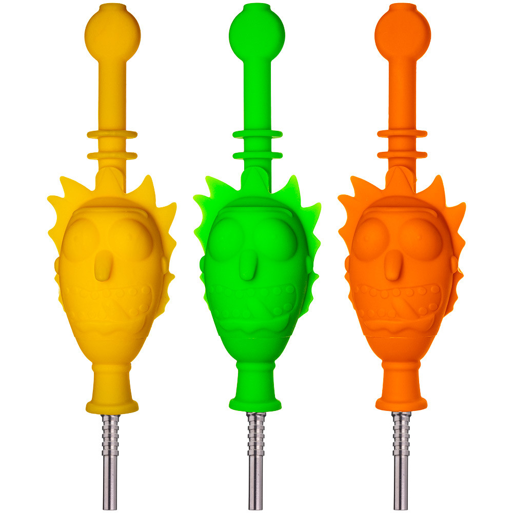 Assorted colors of Silicone Rick Head Nectar Collectors.
