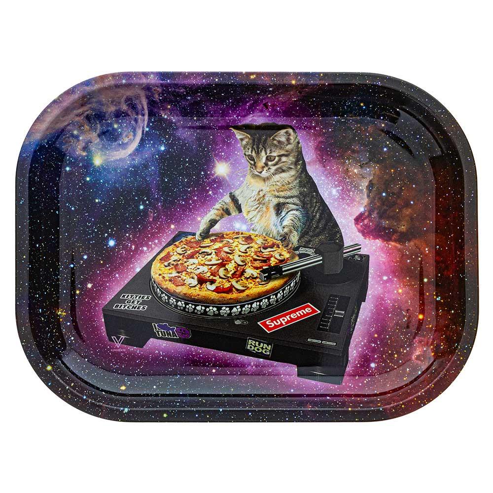 Small Rolling Tray, Pizza DJ Cat