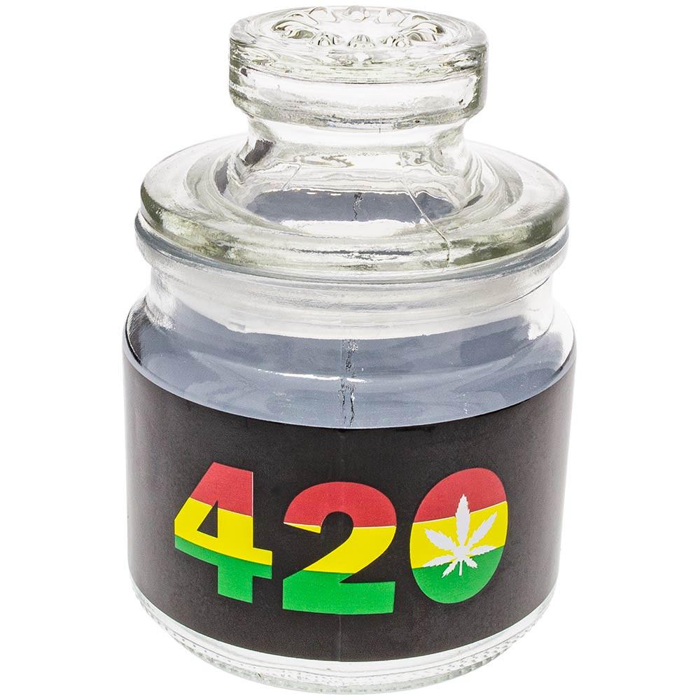Glass stash jar with Rasta 420 print.
