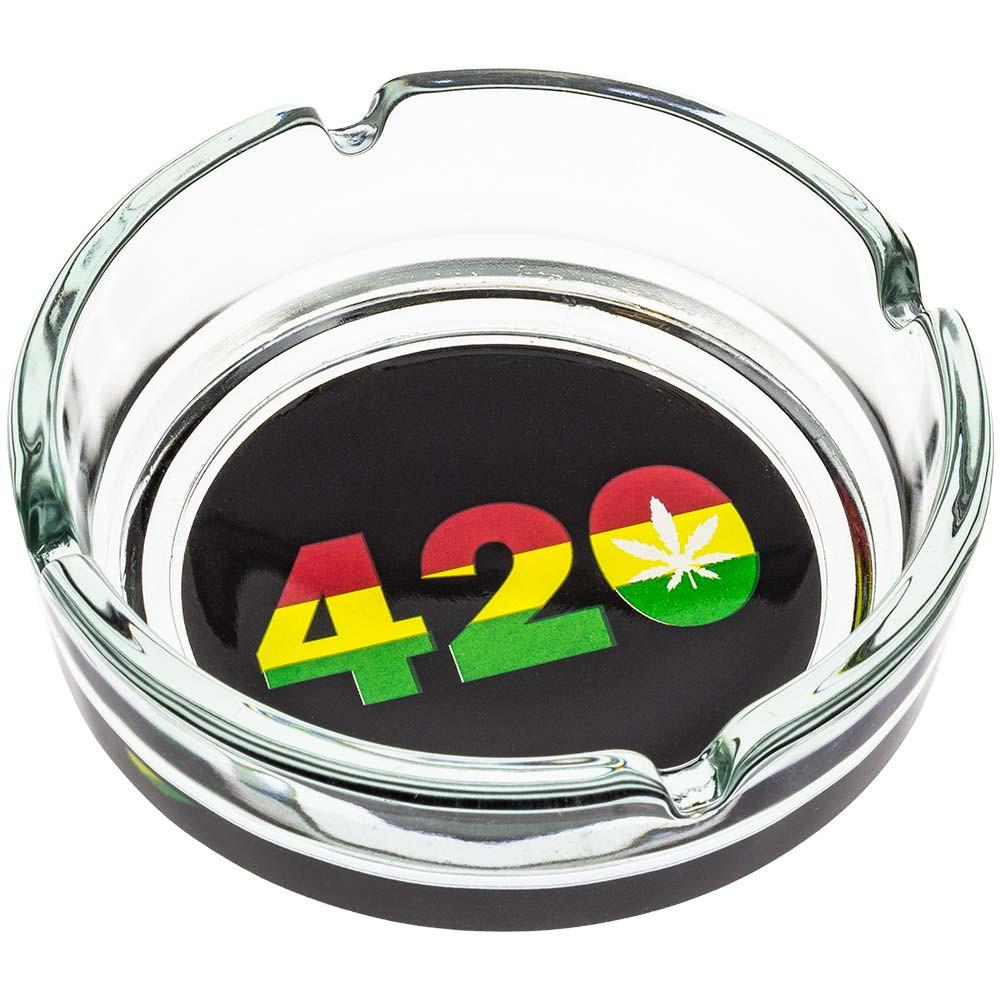 Glass ashtray with Rasta 420 print.