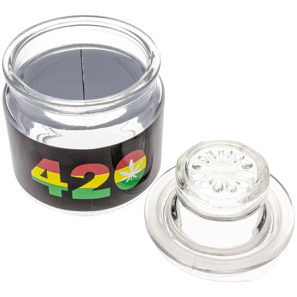 Stash jar with lid removed.