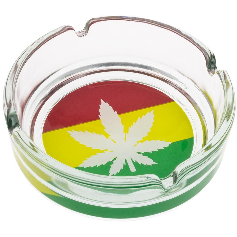 Glass ashtray with Rasta leaf print.