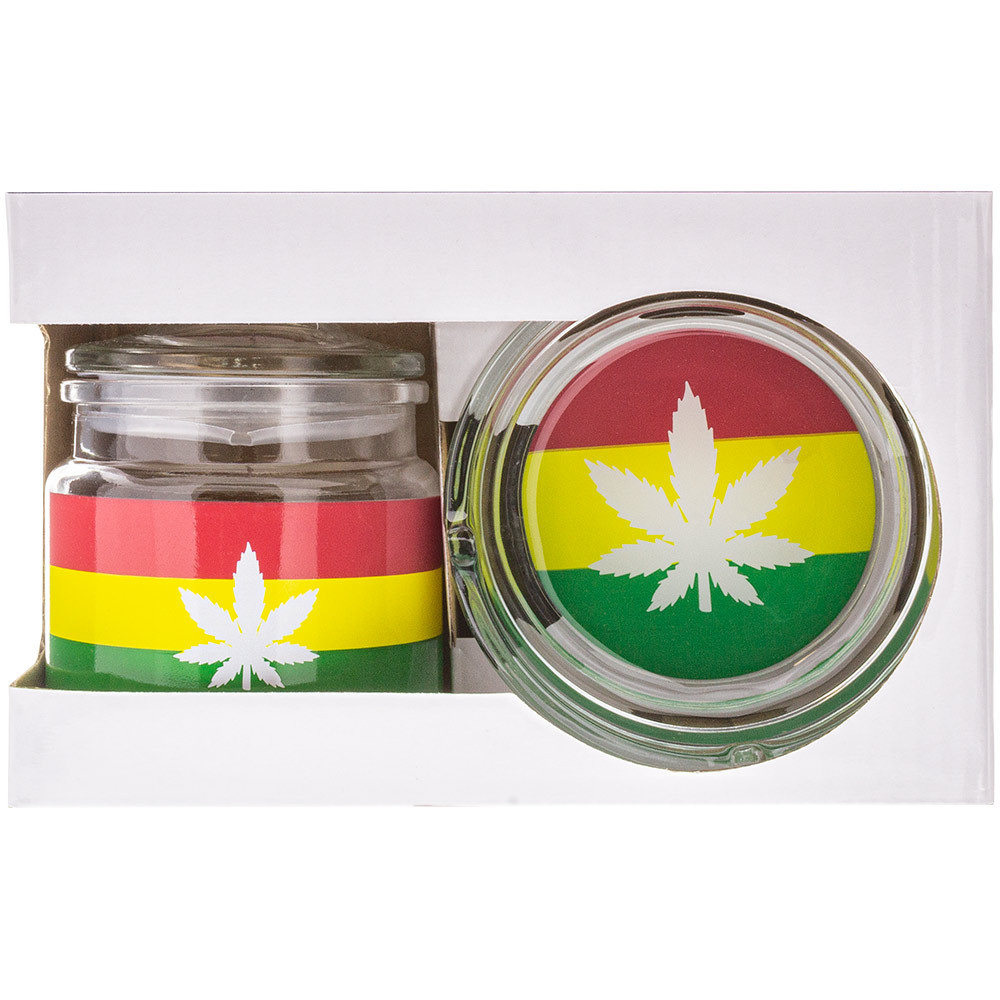 Complete box showing the ashtray & stash jar from the front.
