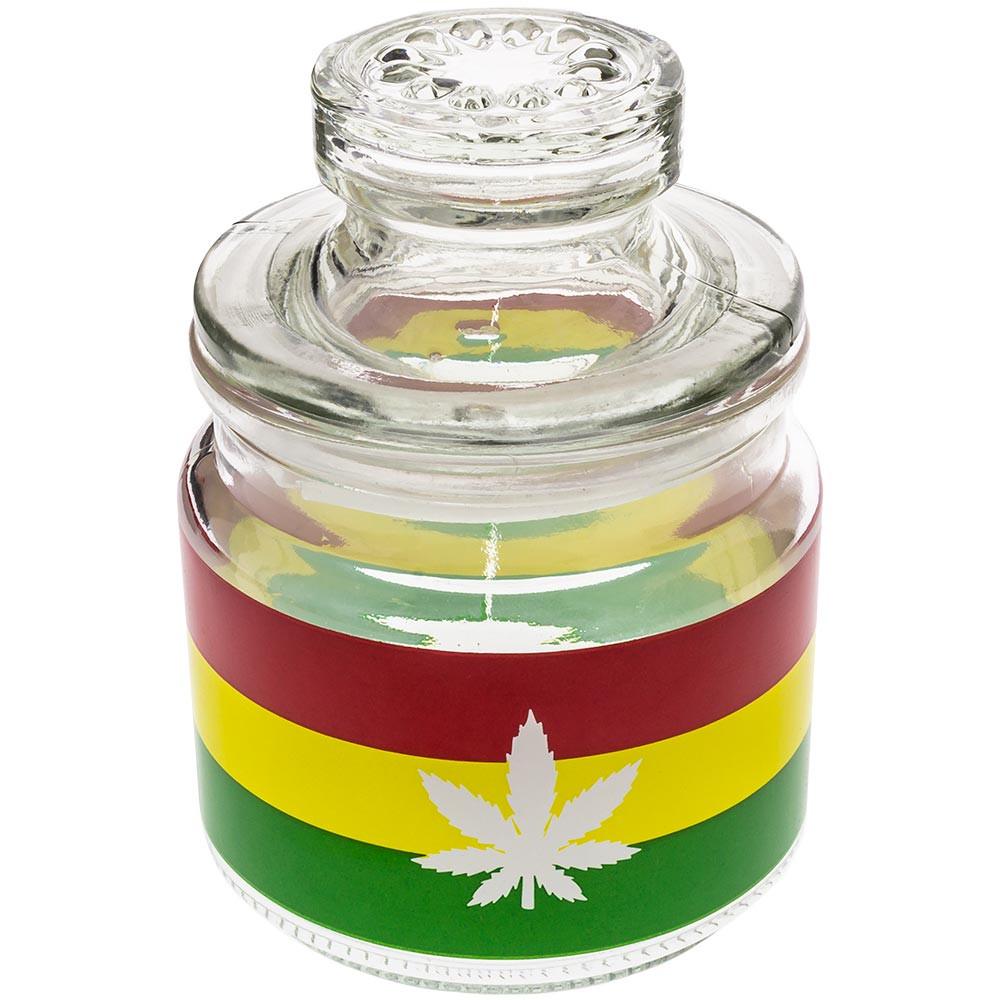 Glass stash jar with Rasta cannabis leaf print.