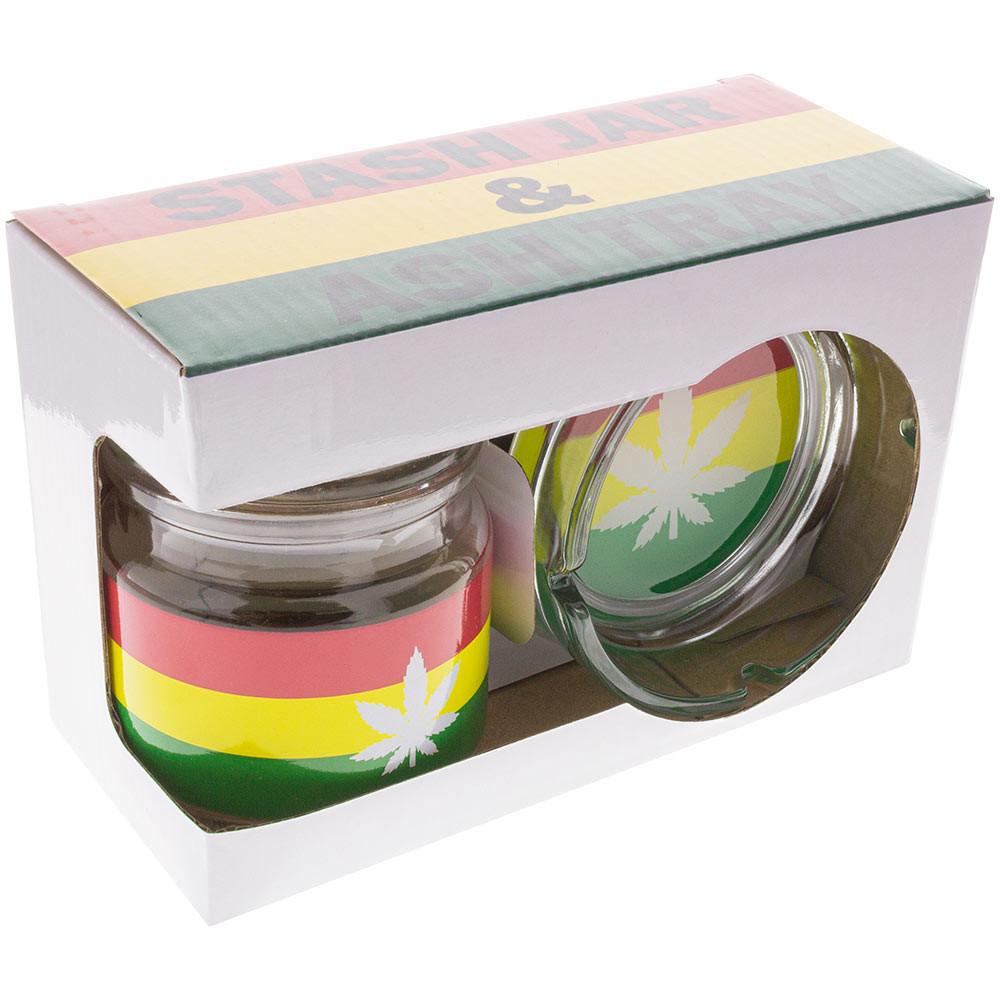 Quarter view of this Rasta Leaf Ashtray and Stash Jar Set boxed together.