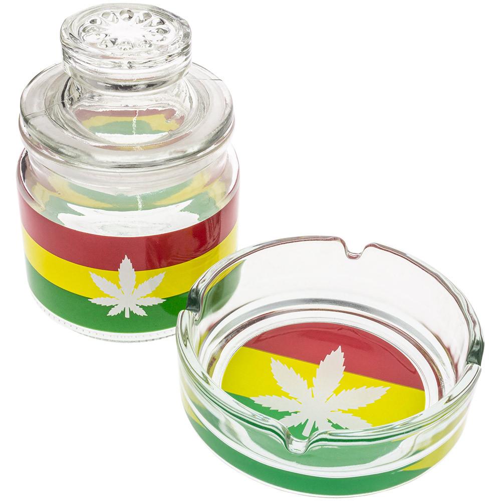 Glass Ashtray & Stash Jar Set with Rasta-colored leaf decals.
