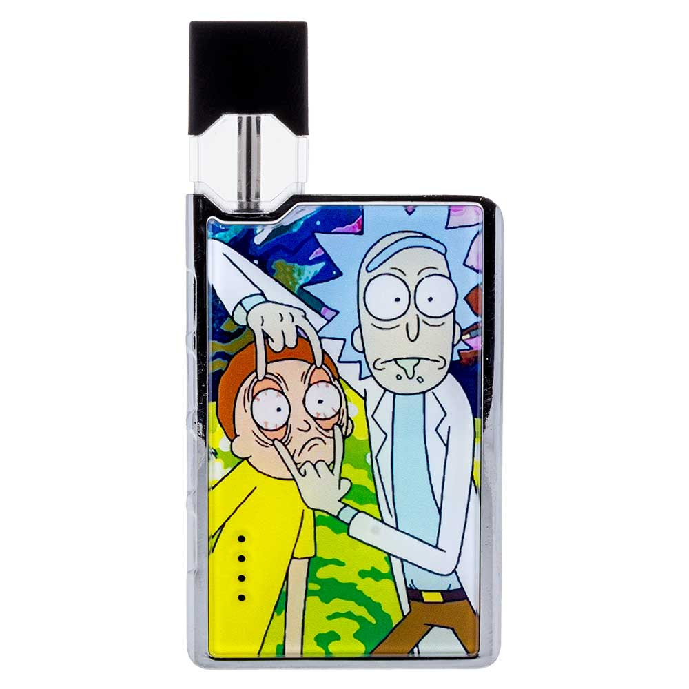 """Look, Morty!"" graphic vape pod featuring Rick & Morty. You can see the light sockets on the front which illuminate when a pod is inserted and when you take a draw to show battery life."