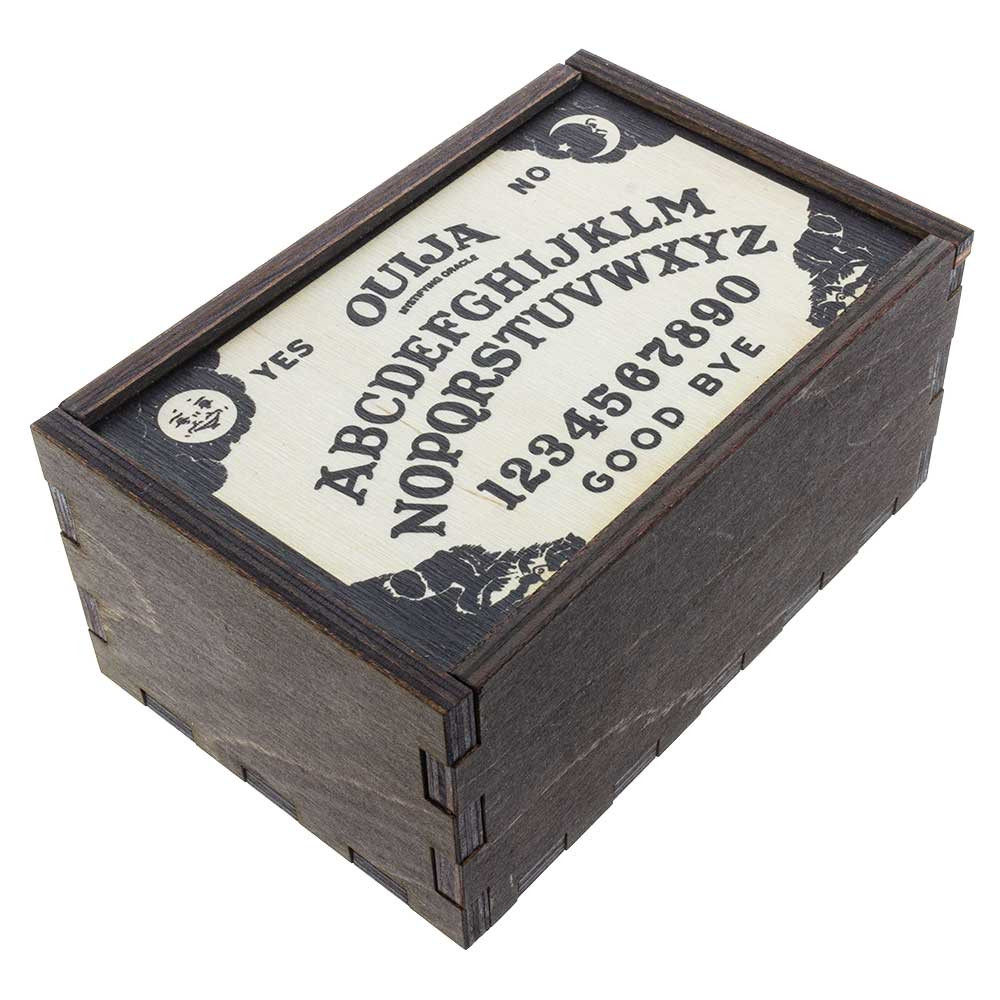 Closed Ouija Board medium stash box quarter view.