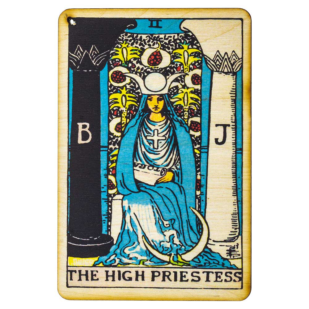 Top view of the High Priestess Tarot Card incense burner's detailed print.
